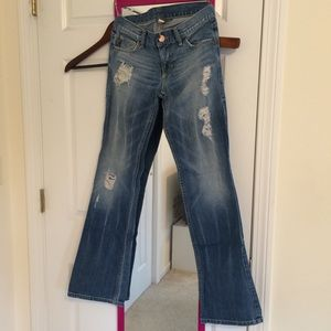 Armani exchange boot cut jeans with rips